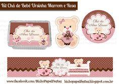 kit cha de bebe ursinha marrom e rosa