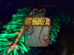 Stained glass present, Christmas decoration, Christmas tree decoration, Christmas glass ornaments. * Thank you for visiting our shop. Here you can find an original interesting and cute gift for your family, relatives or friends. It will be also perfect for Christmas home decor, gorgeous