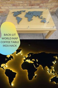 Popular IKEA coffee table takes on the world (map). Back-lit world map coffee table. Idea for world Map wall art. World Map Decor, World Map Wall Art, Custom Glass Table Tops, Coffee Table Ikea Hack, Front Door Lighting, Honeycomb Pattern, Ikea Hackers, Diy House Projects, Vintage Maps