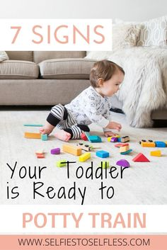Is your toddler ready to ditch the diapers? 7 signs your toddler is ready for potty training. #pottytrain #readiness #toddler