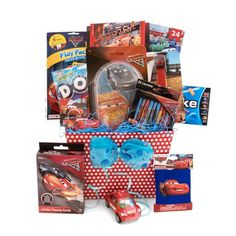 cardYour child will racing towards fun with this incredible Disney Pixar Cars themed basket! Lightning McQueen will lead the way as boys and girls create memories with these spectacular games and art activities. Gas up with fun with these great items, including:  Cars Bingo Game Set Cars Puzzle Cars Art Set Cars Rolling Art Cars stickers