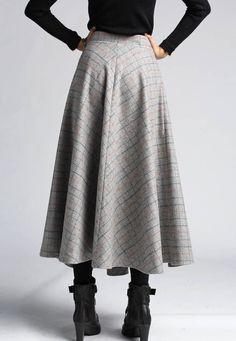 plaid skirt wool skirt winter skirt maxi skirt 412 by xiaolizi ...