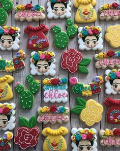 Frida Kahlo galletas, cut out hand decorated sugar cookies royal icing, fiesta theme, succulents, cactus Fancy Cookies, Iced Cookies, Cupcake Cookies, Sugar Cookies, Cupcakes, Fiesta Cake, Fiesta Theme Party, Mexican Birthday Parties, Mexican Party