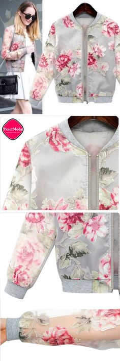Product Description: Fall / Winter Fashion Woman's Floral Printed Outwear Jacket / Coat by PesciModa Material: Organza, Color: Red, Sleeve style: long sleeve, Occasion: Casual Bust Waist Shoulder Slee