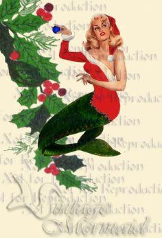 cm15 Retro Merry Christmas Mermaid Fabric by wwwvintagemermaidcom, $3.00