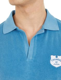 MELINDAGLOSS,Polo Shirt in Terry Towelling,BLUE,4