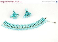 ON SALE STUNNING vintage Weiss aqua blue and by FindingBrooke, $102.00