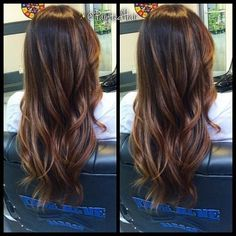 specialty cut and color copper brown base touched up, carmel Into the layers from