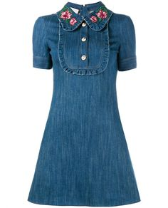 Embroidered Ruffle Denim Mini Dress