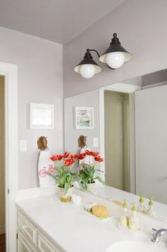 long bathroom counter w/ single sink | Young House Love