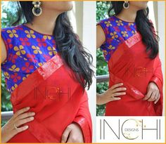 Red Saree with floral print blue blouse