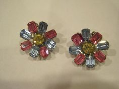 Vintage 1940s 1950s Earrings Pink Blue Yellow Crystal by girlgal6, $27.00