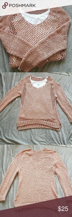 🌼Salmon Fishnet detail Sweater🌼 Very Pretty Salmon and Olive Color Sweater with Fishnet Style Design in front. Perfect for Spring. Cute with a tank underneath. Tag says 0. Fits like an XL. Maurices Sweaters Crew & Scoop Necks