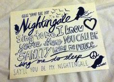 Can you be my nightingale? Sing to me  I know you're there You could be my sanity  Bring me peace Sing me to sleep Say you'll be my nightingale - Nightingale, Demi Lovato #quote #song #lyrics