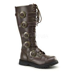 Demonia,DEMONIA STEAM-20 Men's Brown Leather Steampunk Boots - Shoecup.com
