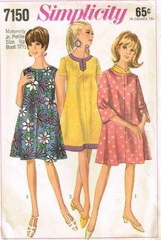 Vintage 60s Maternity Dress Slit Neckline by PeoplePackages, $8.95