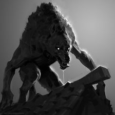 Creatures Of The Night, Weird Creatures, Magical Creatures, Fantasy Creatures, Dark Fantasy Art, Dark Art, Werewolf Art, Arte Horror, Creature Concept