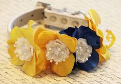 Yellow Blue Floral Dog Collar, High Quality Collar -Yellow Blue Wedding dog accessory, Floral Dog Collar - Flower and Pearls, Summer time