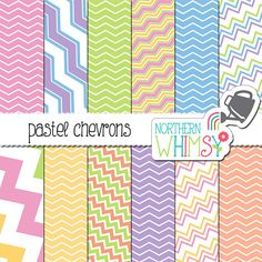 Pastel Chevron Digital Paper – chevron scrapbook paper with diagonal and straight patterns - crazy chevron - printable paper -commercial use