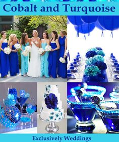 Cobalt and Turquoise Wedding Colors. This combination has a beachy vibe since the colors are found in sea glass. This combination is often called Tiffany Blue and Cobalt, as well. Either way, it's luscious!