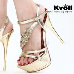 Kvoll open toe rhinestone flower ultra-high platform thin heels gold plated female sandals gold