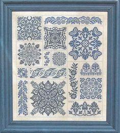 Blue work cross-stitch designs