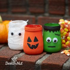 Glass Jar Halloween Decoration – Frankenstein ,Mummy and Pumpkin. Glass Jar Halloween Decoration – Frankenstein ,Mummy and Pumpkin. Baby Food Jar Crafts, Baby Crafts, Crafts For Kids, Baby Jars, Baby Food Jars, Food Baby, Crafts With Glass Jars, Mason Jar Crafts, Diy Halloween Mason Jars