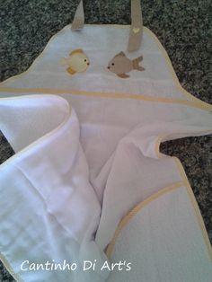 Avental em toalha de banho com aplica��o ou nome (opcional). <br>Forrado com fralda, sendo ideal p/ secar o beb� na hora do banho.