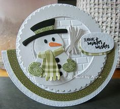Made by Alina: Merry Christmas! Christmas Cards 2018, Xmas Cards, Holiday Cards, Unique Cards, Creative Cards, Handmade Christmas, Christmas Crafts, Snowman Cards, Snowman Hat