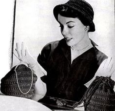 NEW! Witching Hour Hat & Bag Sets crochet patterns from Belastraw Fashions, Volume No. 20, originally published in 1950.