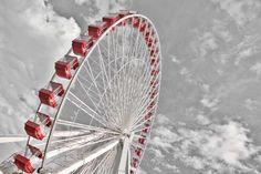 Macphun Tonality Photo Editing Software Inspiring Black And White Chicago Photos, Chicago Illinois, Black And White Photography, Ferris Wheel, Photo Editing, Navy, Red, Inspiration, Black White Photography
