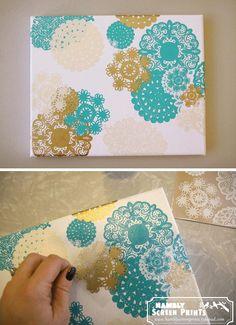 DIY  DOILY CRAFTS DIY Crafts: DIY Doily Rub-on Canvas