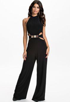 Sophisticated Cut outs Black Halter Neck Jumpsuit