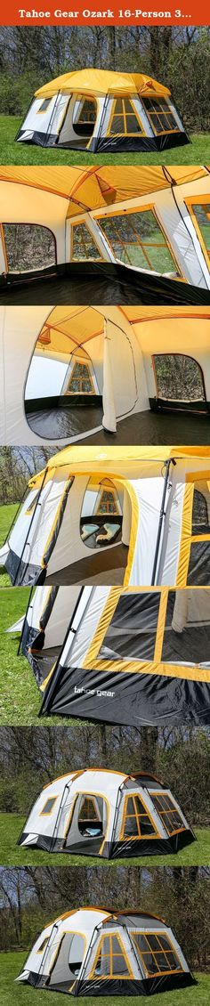Tahoe Gear Ozark 16-Person 3-Season Cabin Tent, Orange   TGT-OZARK-16-B. Explore, sit by the fire, eat s'mores, watch the sunset, hike, go fishing, and catch some Zzz's in the Tahoe Gear Ozark 16-Person 3-Season Tent at the end of your adventure-filled day. Great for comfortably sleeping from up to 16 people, the orange-colored Ozark is ideal for camping with friends or family or even for a longer outdoor excursion. Enjoy day time in the airy, open screen room or a few restful hours in…