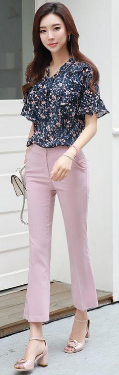 StyleOnme_Simple Boot-Cut Pants #pink #elegant #feminine #koreanfashion #kstyle #kfashion #bootcut #dailylook #summertrend