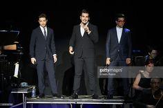 Italian singers Gianluca Ginoble, Ignazio Boschetto and Piero Barone perform during the Il Volo live in concert at Auditorium Parco Della Musica on June 22, 2015 in Rome, Italy.