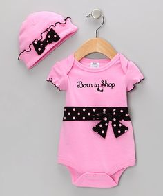 Take a look at this Pink 'Born to Shop' Bodysuit & Beanie by Baby Essentials on #zulily today!