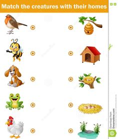 free printable matching animals to their home worksheet 7 pre school pinterest. Black Bedroom Furniture Sets. Home Design Ideas