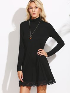 Buy it now. Black Cowl Neck Lace Trim Shift Dress. Black Casual Cotton Cowl Neck Long Sleeve Shift Short Plain Fabric is very stretchy Fall Tshirt Dresses. , vestidoinformal, casual, camiseta, playeros, informales, túnica, estilocamiseta, camisola, vestidodealgodón, vestidosdealgodón, verano, informal, playa, playero, capa, capas, vestidobabydoll, camisole, túnica, shift, pleat, pleated, drape, t-shape, daisy, foldedshoulder, summer, loosefit, tunictop, swing, day, offtheshoulder, smock, ...