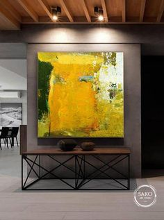 Large Acrylic Painting Painting Gold Painting Office Painting | Etsy Black And White Painting, Yellow Painting, Large Painting, Acrylic Painting Canvas, Abstract Canvas, Painting Abstract, Abstract Watercolor, Canvas Art, Gold Paint