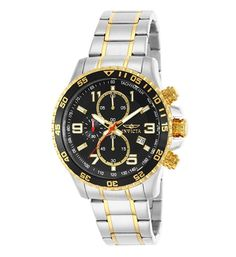 Invicta Men's 14876 Specialty Chronograph Gold Ion-Plated and Stainless Steel Watch. apanese quartz movement with analog display Two-tone stainless steel and gold ion-plated link bracelet with fold-over clasp Water resistant to 50 m ft) Stylish Watches, Cool Watches, Watches For Men, Luxury Watches, Wrist Watches, Diesel, Mens Designer Watches, Army Watches, Watch Sale