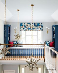 Staircase with staggered Moravian Star Pendants