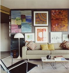 We love the mixture of art on a feature wall. #interior