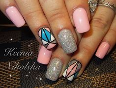 Glittery Glazed Geometric Nail Art. This glittery glazed geometric nail art design is going to be the best idea especially when you have a girl's night out or a kitty party a your place.
