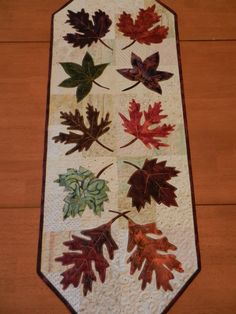 Leaf Table Runner, Quilted Table Runner, Batik Fabric Table Runner 14 x via Etsy. Patchwork Table Runner, Table Runner Pattern, Quilted Table Runners, Batik Quilts, Fall Quilts, Applique Quilts, Sampler Quilts, Amish Quilts, Patchwork Quilting