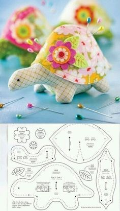 Turtle Pincushion Schnittmuster Turtle Pincushion S … - Stofftiere Sewing Toys, Sewing Crafts, Sewing Projects, Sewing Ideas, Sewing Hacks, Free Sewing, Sewing Tutorials, Sewing Stuffed Animals, Stuffed Animal Patterns