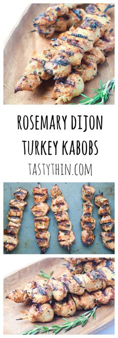 Dijon Turkey Kabobs - a fresh tangy marinade is the perfect compliment to these grilled turkey tenderloin kabobs. Turkey Tenderloin Recipes, Turkey Recipes, Paleo Recipes, Low Carb Recipes, Chicken Recipes, Cooking Recipes, Kabob Recipes, Turkey Marinade, Grilled Turkey