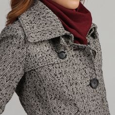 Nicole Miller Women's Herringbone Tweed Low Belted Coat | Overstock.com
