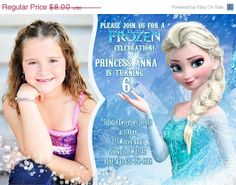 off SALE Digital frozen Printable Birthday party invitation ONLY with photo Photo Invitations, Birthday Party Invitations, Disney Frozen Invitations, Frozen Photos, Frozen Bday Party, Frozen Summer, Off Sale, Frozen Printable, Elsa Frozen