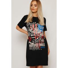 Maisie Legend LA T-Shirt Dress (£18) ❤ liked on Polyvore featuring dresses, black, mixed print dress, short-sleeve dresses, viscose dress, print t shirt dress and pattern dress